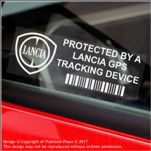 5 x Lancia GPS Tracking Device Security WINDOW Stickers-87x30mm-,Italy-Car,Van Alarm Tracker